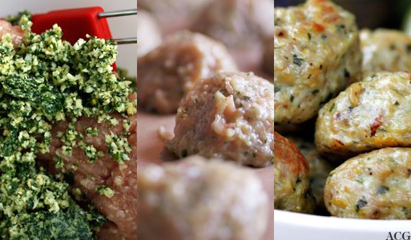 tre bilder av kjøttbolleproduksjon