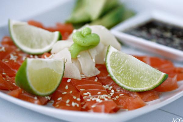 sashimi med avokado